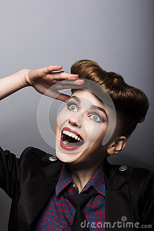 Funny woman in retro style - trendy hairstyle