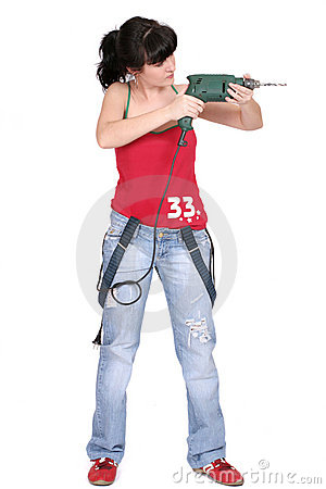 Free Funny Woman With A Drill Stock Photo - 2344480