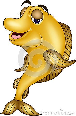 Funny yellow fish cartoon
