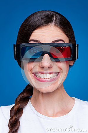 Funny young woman in 3d glasses