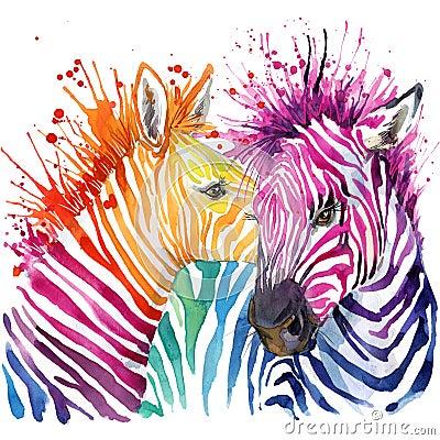 Funny zebra T-shirt graphics, rainbow zebra illustration Cartoon Illustration