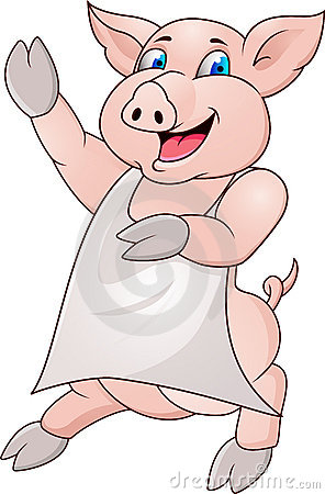 Funy pig with apron