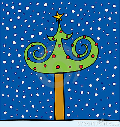 Fur-tree decorated by spheres and a star