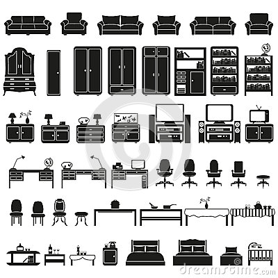 Free Furinture - Furniture Icons Set Stock Photo - 36195670