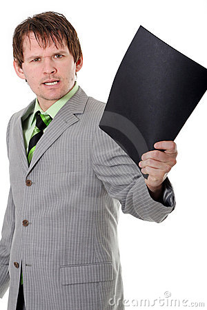 Furious boss with folder