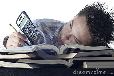 Boy with too much homework