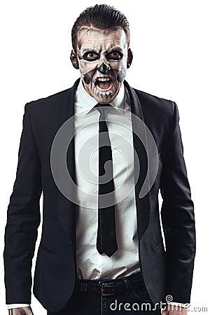 Free Furious Businessman  Makeup Skeleton Stock Photography - 46065022