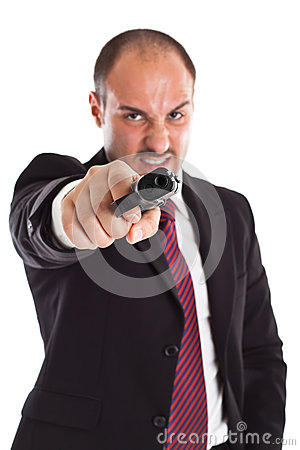 Free Furious Businessman With A Gun Royalty Free Stock Photo - 31379055