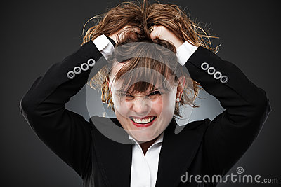 Furious businesswoman