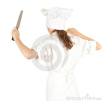 Furious cook woman with knife
