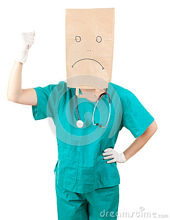 Furious female doctor with paper bag on head