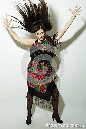 Furious gypsy woman