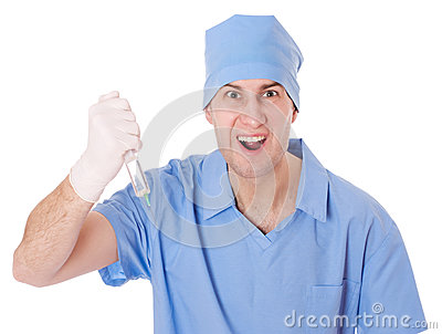 Furious male doctor with syringe.