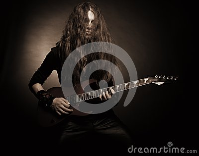 Furious metal guitarist