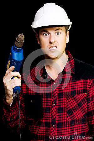Furious out of control construction site worker