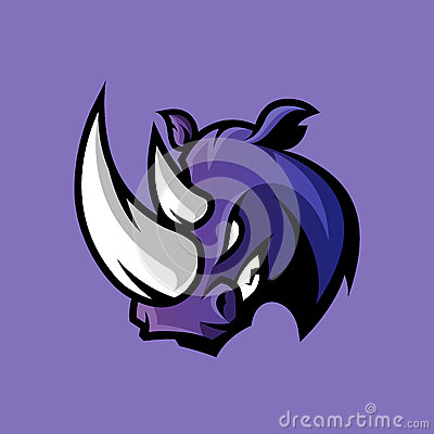 Furious rhino sport vector logo concept isolated on purple background. Vector Illustration