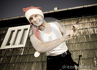 Furious Santa with an axe