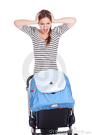 Furious, shouting mother and baby buggy
