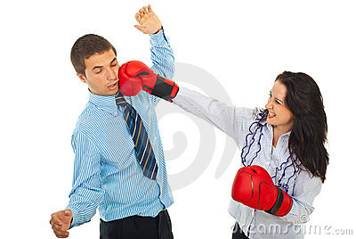 Furious woman kick business man