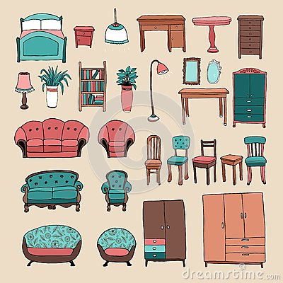 Free Furniture And Home Accessories Icons Set Royalty Free Stock Photography - 40801537
