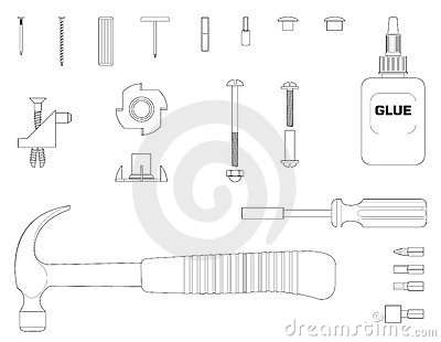 Furniture assembly kit line illustration