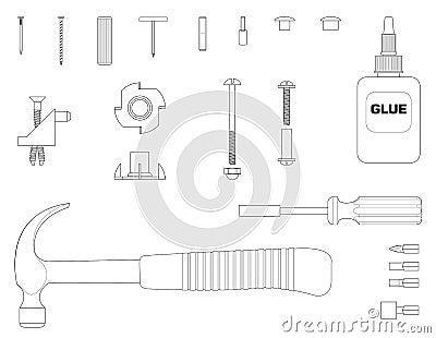 Furniture assembly kit line illustration