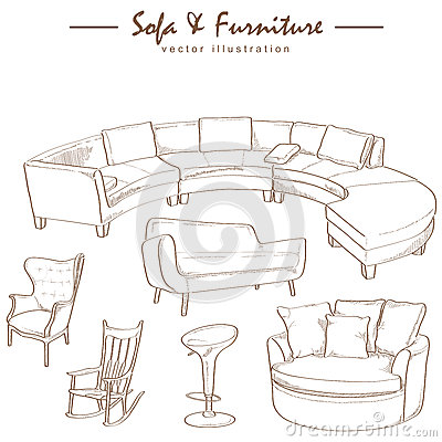 Furniture collection sketch drawing vector stock vector for Chair design drawing