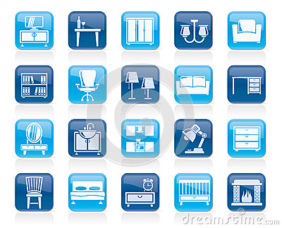 Furniture and home equipment icons Vector Illustration