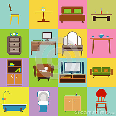 Furniture icons set flat design vector illustration Vector Illustration