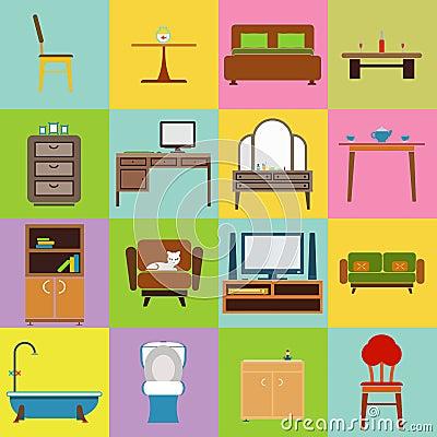 Furniture icons set flat design vector illustration Vector Illustration