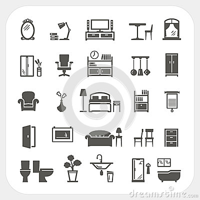 Free Furniture Icons Set, Home Interior Objects Royalty Free Stock Photo - 78652075