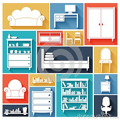 Furniture icons set stock vector image 40459984 for Furniture decoration paper