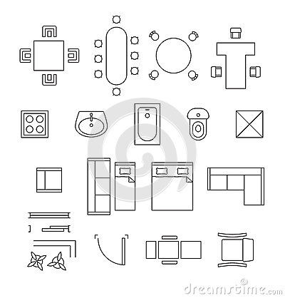 Stock Illustration Furniture Linear Vector Symbols Floor Plan Icons Set Interior Toilet Washbasin Bath Table Chair Illustration Image61114138 on toilet design