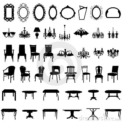Free Furniture Silhouette Set Stock Photos - 14512923