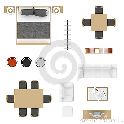 Bed Side Table Top View : Furniture top view collection. Bed, table with chairs, bar stool ...