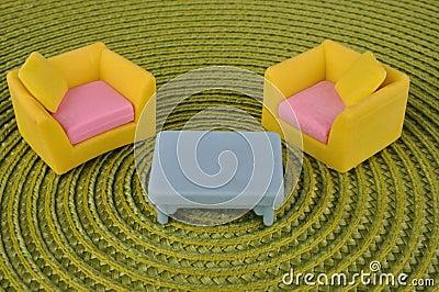 Furniture toy on grass intertexture
