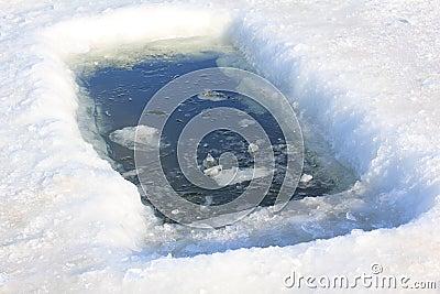 Furo do gelo para o banho do inverno