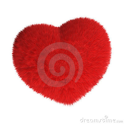 Furry red heart