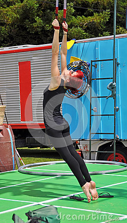 Fuse Circus Aerial Performer, World Buskers Festival, New Zealan Editorial Photography