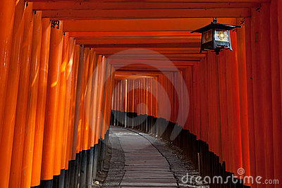 Fushimi门inari日本京都寺庙隧道