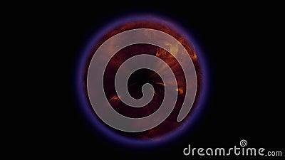 Fusible movimiento de las llamas naranja azul marco de círculo negro metrajes