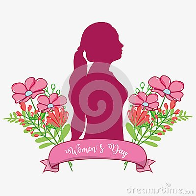 Free Fusic Woman Silhouette With Flowers And Ribbon Royalty Free Stock Image - 110346016