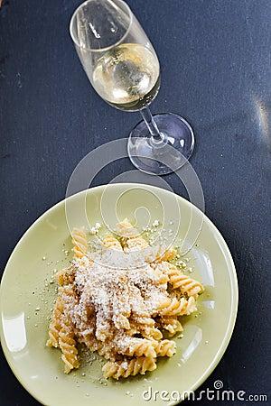 Free Fusilli Pasta And White Wine Royalty Free Stock Image - 105936296