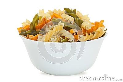 Fusilli pasta in bowl
