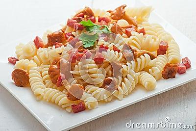 Fusilli Pasta With Mushrooms And Bacon. Stock Photo ...