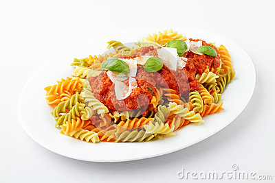 Fusilli tricolore bolognese with parmesan and herbs