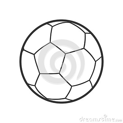 Futsal Ball Outline Flat Icon on White Vector Illustration