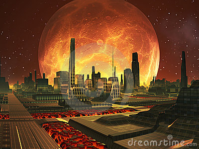 Future City on Lava Planet with Full Moon