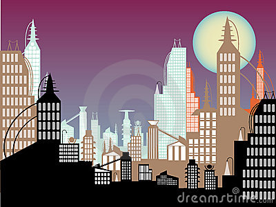 Future cityscape abstract colors twilight moon