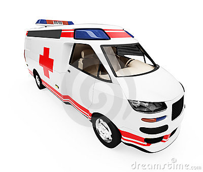 Future concept of ambulance truck isolated view